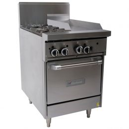 Garland 600mm WIDE RESTAURANT SERIES COMBINATION RANGE WITH SPACE SAVER OVEN (NG & LP) GF24-2G12L