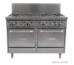 Garland 1200mm WIDE 4 RESTAURANT SERIES BURNERCOMBINATION RANGE WITH 2 SPACE SAVER OVENS (NG & LP) GF48-4G24LL