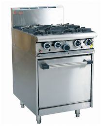 Trueheat RCR6-4: oven with four open top burner (NG or LP gas)