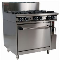 Trueheat RCR9-6: oven with six open top burners 900mm (NG or LP gas)