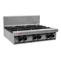 Trueheat RCT9-6: six open top burners (LP or NG gas)